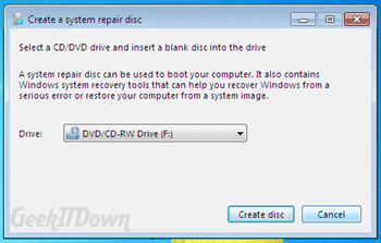 Windows 7 Tips and Tricks create repair disc