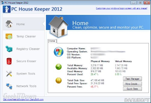 PC House Keeper 2012: Computer Cleanup Tools In One Place