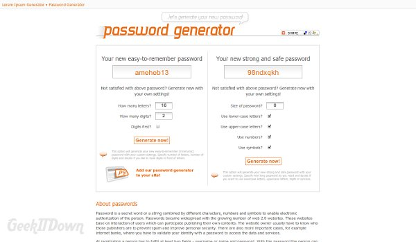 Nifty Websites Collection Password Generator