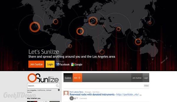 Sunlize Is A Social Local Headline Sharing Website