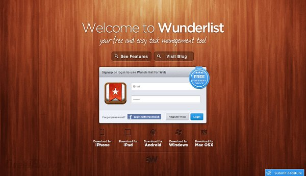 Nifty Websites Collection Wunderlist