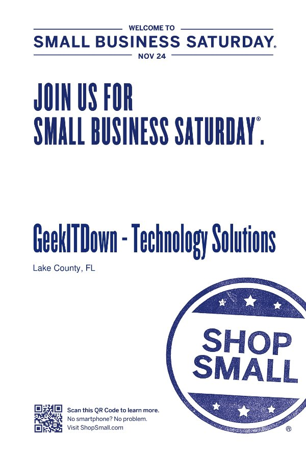 Join Us For Small Business Saturday, November 24, 2012