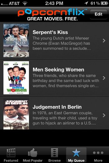 App Roundup Popcornflix iPhone