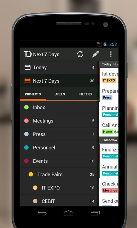 Android App Todoist Projects List