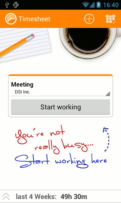 App Roundup Timesheet Start Screen