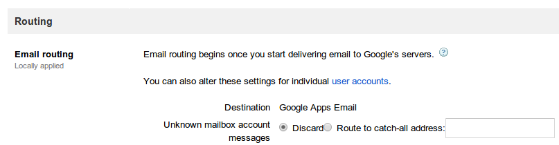 Google Apps Catch-all Email Address