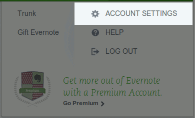 Evernote Account Settings
