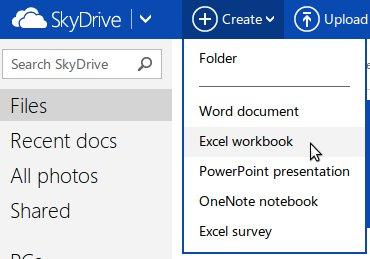 Outlook.com Choose Excel